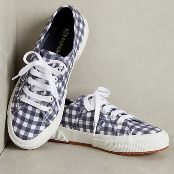 72bb477782b Anthropologie Superga blue gingham SNEAKERS white